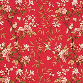 Peony & Blossom - Red Moss - Bright raspberry coloured 100% linen fabric covered with a floral patternin white, beige, forest green and lig