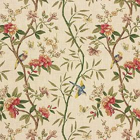 Peony & Blossom - Sage Beige - Floral, leaf and bird patterned 100% linen fabric made in a vintage colour palette of cream,forest green and