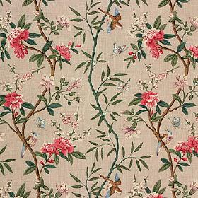 Peony & Blossom - Aqua Mauve - 100% linen fabric in cement grey, patterned with brown branches, dark teal leavesand strawberry coloured flo