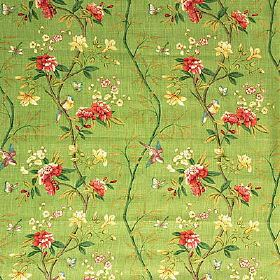 Peony & Blossom - Apple Green Brick - Floral patterned fabric made from 100% linen, with a yellow, red and emerald green design onan apple