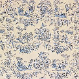 Children at Play - Blue - Busy, detailed flowers and drawings printed in navy blueand putty colours on fabric made from 100% cotton