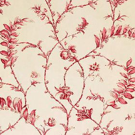 Solomons Seal  - Red - Rich strawberry coloured small leaves and flowers swirlingover and off-white 100% cotton fabric background