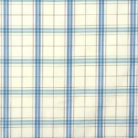 Clifton Check - Aqua Plum - Bright sky and cobalt blue colours making up a simple, fresh checked design on bright white 100% silk fabric