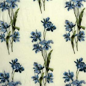 Eden Embroidery - Blue - Floral patterned linen-rayon fabric made in white featuring elegant very dark blue flowers and dark forest green le