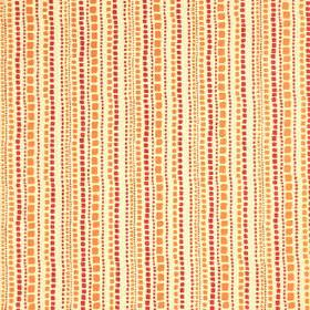 Candy Stripe - Fuchsia Amber - Small blocks arranged in uneven lines on cotton-viscose fabric made in white and rich, warm shades of orange