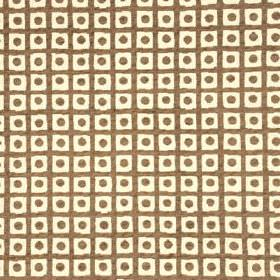 Spot Check - Taupe - A simple grid and small dots printed in dark brown-grey on bright white cotton, viscose and polyamide blend fabric