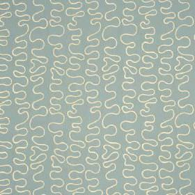 Wiggle - Marine - Thin, uneven wiggly lines creating a fun white design on baby blue coloured fabric blended from linen and rayon