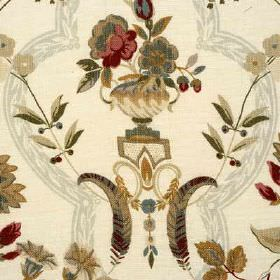 Perandor - Aqua - Various grey, beige and blood red shades making up an urn, flower, leaf and frame pattern on ivory 100% linen fabric
