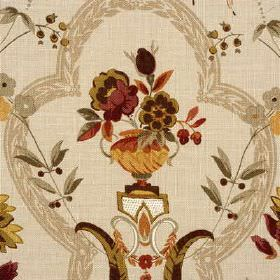 Perandor - Olive Gold - Urns, flowers, leaves and frames patterning 100% linen fabric inshades of beige, gold, burgundy and chocolate brown