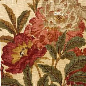 Giant Peony - Terraco - Vintage style floral patterns in burgundy, beige, salmon pinkand dark, dusky green, woven into beige rayon-ramie fa