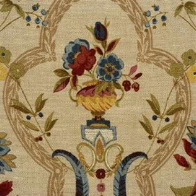 Perandor - Tomato Green - Beige 100% linen fabric woven withgold urns, dark blue-grey and blood red flowers and leaves, and light brown fra