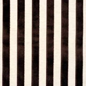 Elliot Stripe - Charcoal - Textured coal black coloured stripes running vertically down white fabric made from viscose, cotton and linen