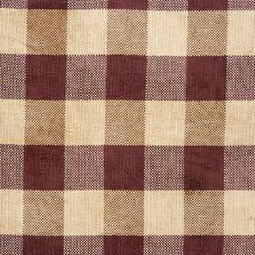 Lancelot Check - Claret - Light brown, cream and plum coloured checks woven into viscose, cotton, polyester blend fabric