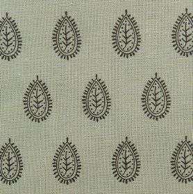 Indian Seed - Sage - Grey linen and cotton blend fabric background, printed with rows of patterned teardrop designs in black