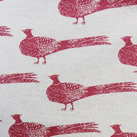 Pheasant - Berry - Cherry coloured pheasants arranged in rows over a very pale grey linen and cotton blend fabric background