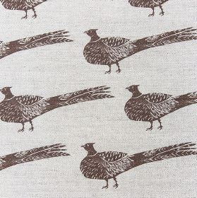 Pheasant - Mud - Fabric made from very pale grey-white linen and cotton, printed with rows of very dark brown coloured pheasants
