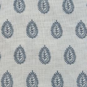 Indian Seed - Holkham Blue - Navy blue coloured simple, patterned, stylised teardrop shaped leaves on a light grey linen and cotton fabric b