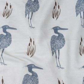 Heron and Bulrushes - Soft Grey - Linen and cotton blend fabric in off-white, printed with herons and reeds in dusky blue and very dark brown