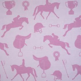 Gymkhana - Lilac Fuchsia - Equestrian themed linen and viscose blend fabric in pale lilac-grey, with pink horses, helmets, saddles, whips an