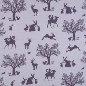 Enchanted Wood - Lilac Aubergine - Fun designs of deer, bunnies, squirrels and trees printed in dark grey on linen and viscose blend fabric