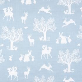 Enchanted Wood - Duck Egg Blue White - Baby blue linen and viscose blend fabric, featuring a fun design of white trees, bunnies, deer and sq