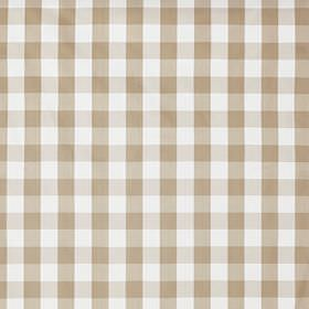 Berta Ruta - Beige - Simple light brown and white checked cotton fabric