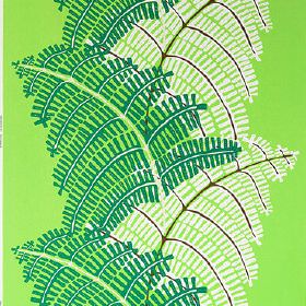 Stockholm - Green - Large dark green and white leaves printed in a row on fluorescent green cotton fabric
