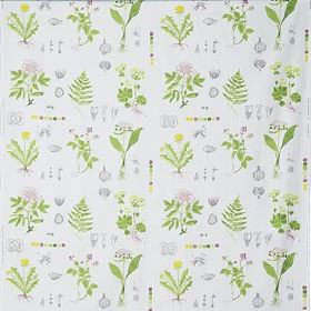 Dorthy - Multicolour - Various green leaves with tiny grey vegetables and flowers in yellow and pink on a white 100% cotton fabric backgroun