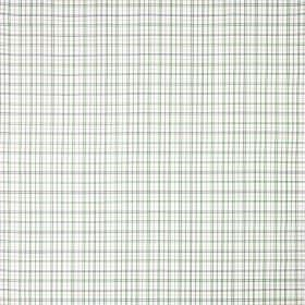 Gunita - Green - A grid in pale shades of green, grey and lilac against a fabric background made from 100% cotton in white