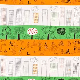 Onskedrom - Orange Green-White - A fun design of buildings, skyscrapers, trees & children in a playground on 100% cotton fabric in white, gr