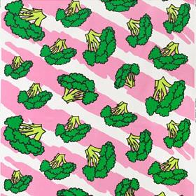 Anniken - White-Green-Pink - Broccoli print patterned 100% cotton fabric, made with a fun, bright green design on a light pink and white bac