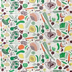 Hemtrevnad - White-Multicolour - White 100% cotton fabric, printed with fun drawings of courgettes, onions, bananas, lemons, pumpkins, cucum