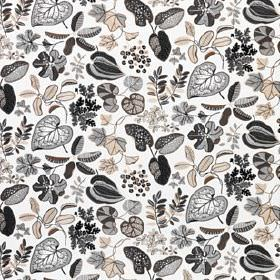 Syssan - White-Beige - Linen & cotton blend fabric featuring a leaf design with various styles printed in beige & dark shades of grey on whi