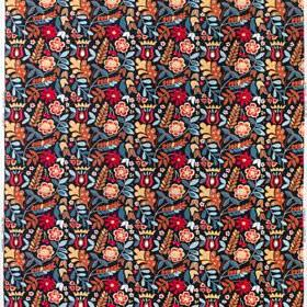 Tigeroga - Multicoloured-Dark - Small burgundy and creamy pink flowers printed with various small blue and brown leaves on black 100% cotton