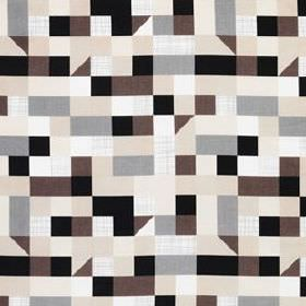 Tulpantrad - White-Beige-Brown - Linen and cotton blend fabric printed with a simple geometric pattern in white, black, dark brown, grey and