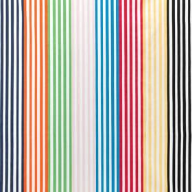 Gitmaj - Stripe-Multicolour - Vertically striped 100% cotton fabric, with a design in white, navy, orange, green, grey, aqua blue, red, crea