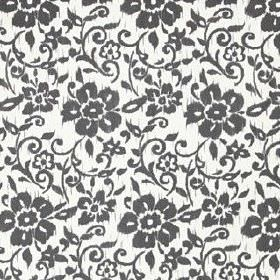 Kungslilja - White Dark Grey - Floral patterned linen and cotton blend fabric, with a simple, fun design in white and a very dark shade of g