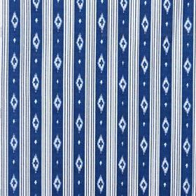 Sommar 2016 - Blue Stripe - 100% cotton fabric made in white and Royal blue, patterned with thin vertical lines, dots and simple diamond sha