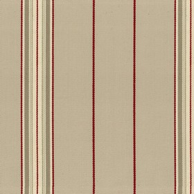 Empire 25 - Flax - Beige cotton fabric with red and green stripes