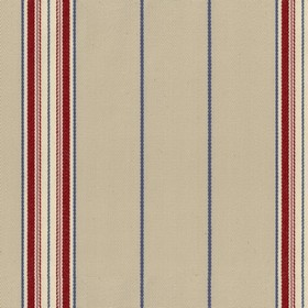 Empire 25 - Peony - Beige cotton fabric with red and blue stripes