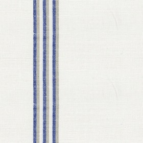 Grain Stripe - Indigo - Cream linen fabric with grey and blue stripes