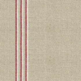 Grain Stripe - Nordic Peony - Grey linen fabric with red and cream stripes