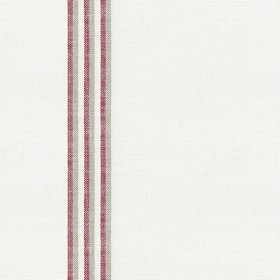Grain Stripe - Peony - Natural linen fabric with red and cream stripes
