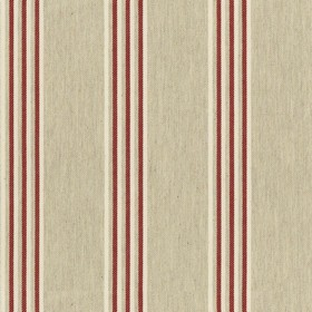 Henley Stripe - Cream Peony - Cream cotton fabric with red colour stripes