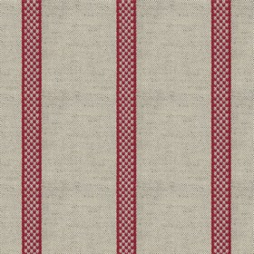 Hopsack Stripe - Peony - Grey linen fabric with red stripes