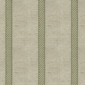 Hopsack Stripe - Sage - Grey linen fabric with sage stripes