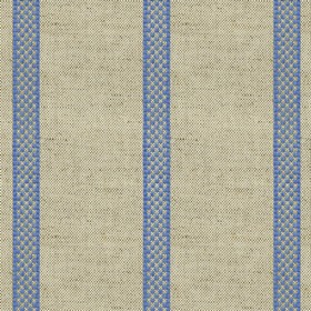 Hopsack Stripe - Airforce - Grey linen fabric with blue stripes