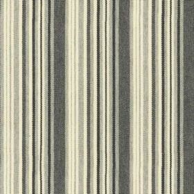 Hove Stripe - Black - Cotton fabric with cream, grey and black stripes