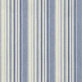 Hove Stripe - Blue - Cotton fabric with cream, blue and navy stripes