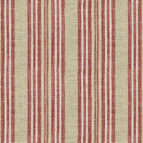 Jura Stripe - Peony - Grey fabric with red stripes